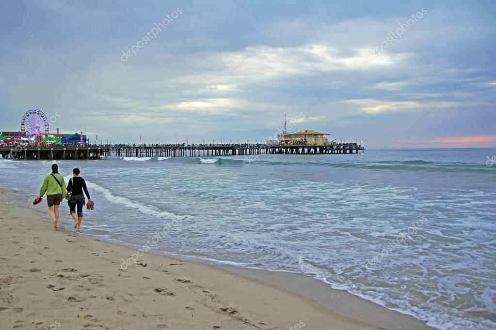 Santa Monica Beach and Pier in California at twilight