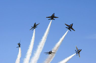 Jet Airplanes Blue Angels F-18 Hornet formation break at 2015 Miramar Air Show in San Diego, California