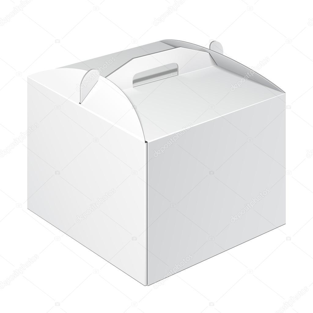 Blanco lleva cartón caja de embalaje para alimentos, regalos u otros ...