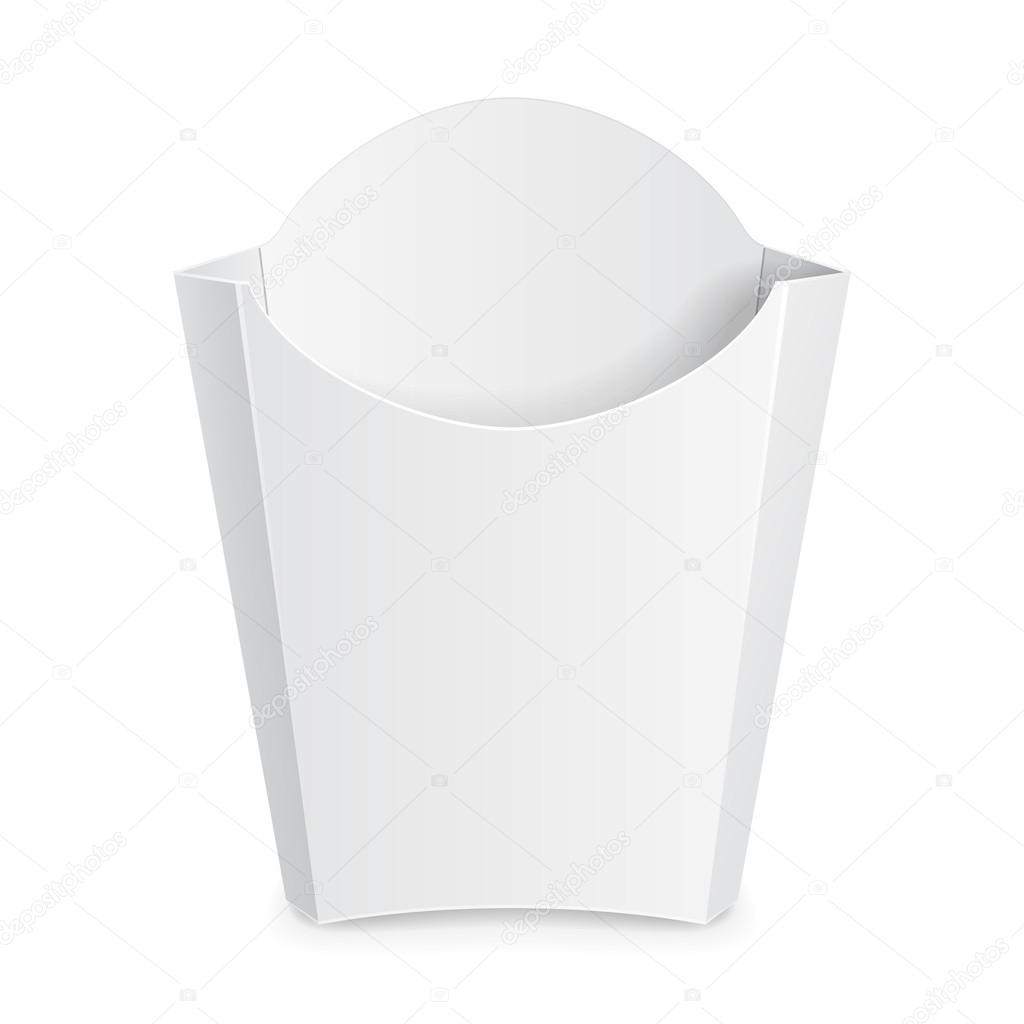 French Fries White Paper Box Fast Food Illustration Isolated On