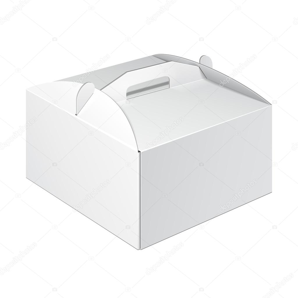 White Small Cardboard Carry Box Packaging For Food, Gift Or Other ...