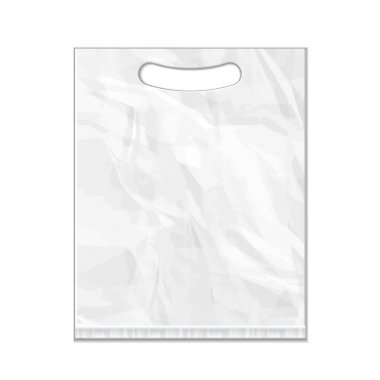 Disposable Plastic Bag Package Grayscale Template On White Background Isolated. Mock Up Template Ready For Your Design. Product Packing Vector EPS10. Isolated