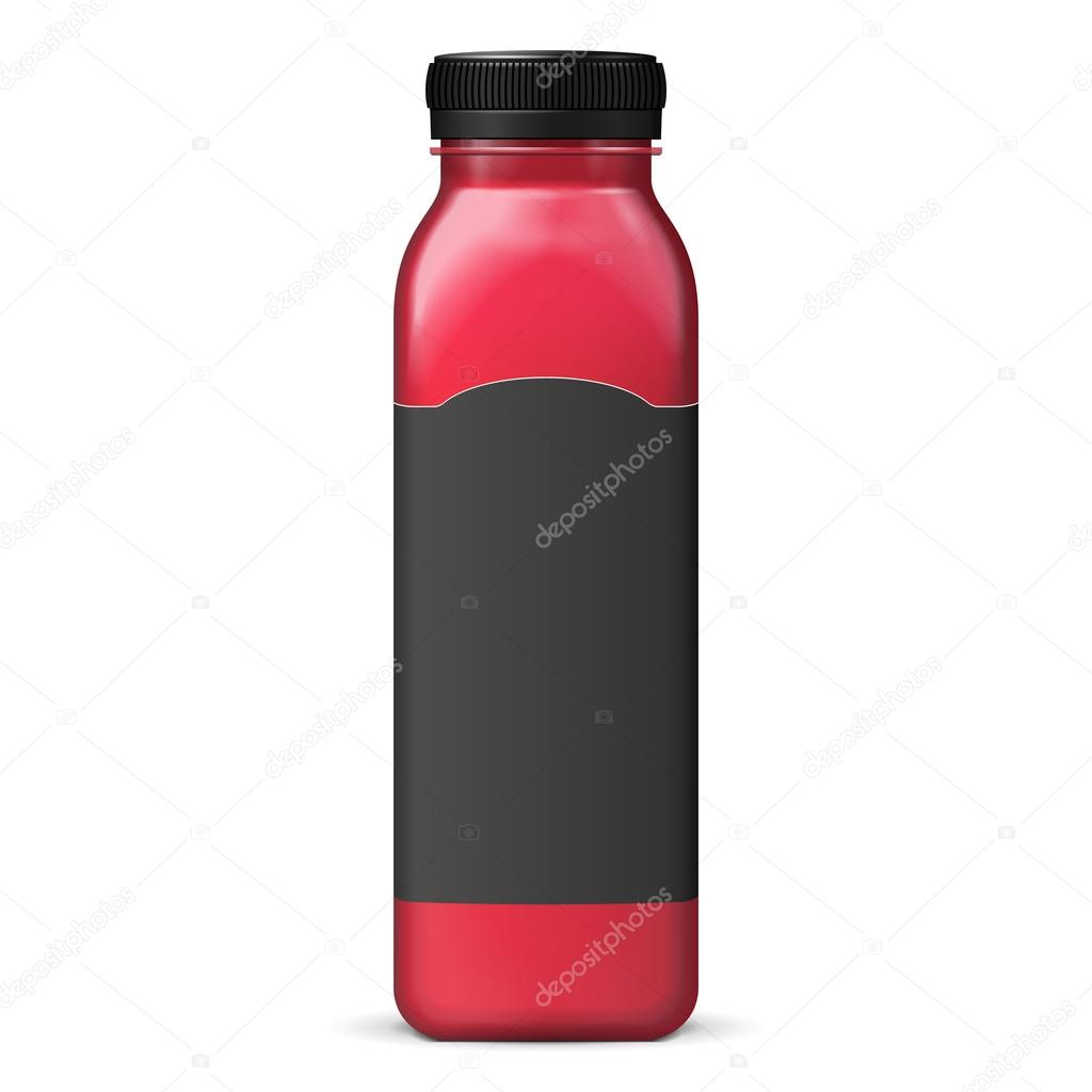 Juice Or Jam Glass Red Purple Bottle Jar With Label On White
