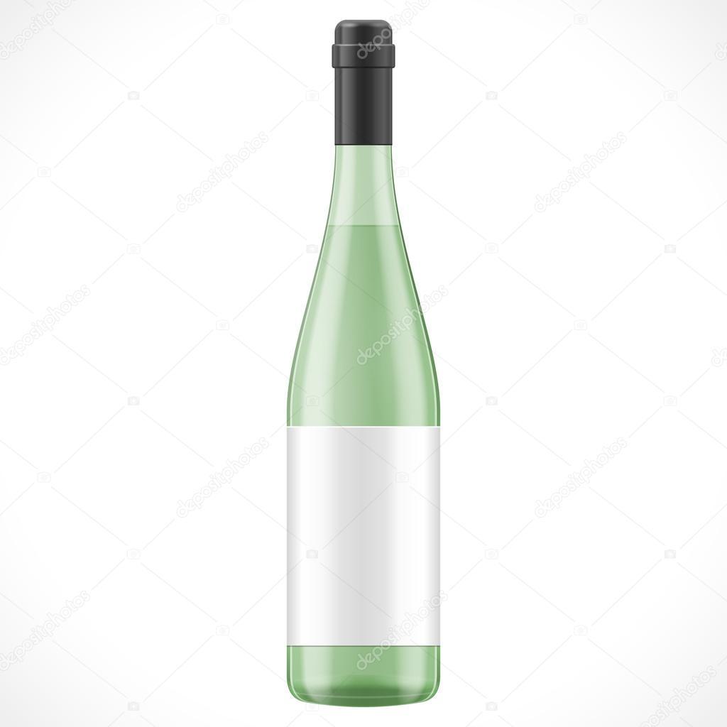 Grünes Glas-Wein Apfelwein-Flasche mit Etikett. Illustration ...