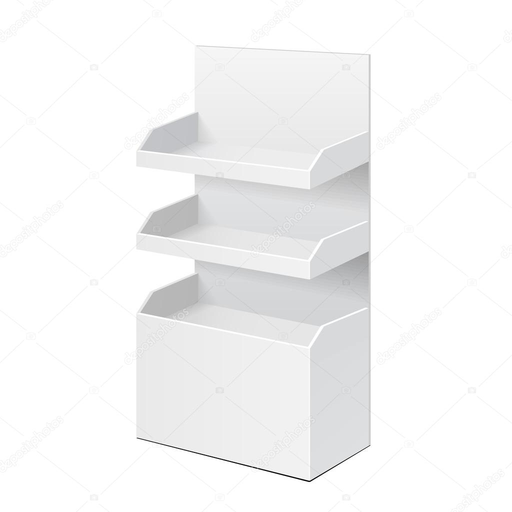 White POS POI Cardboard Blank Empty Displays With Shelves Products On Background Isolated Mock Up Template Ready For Your Design