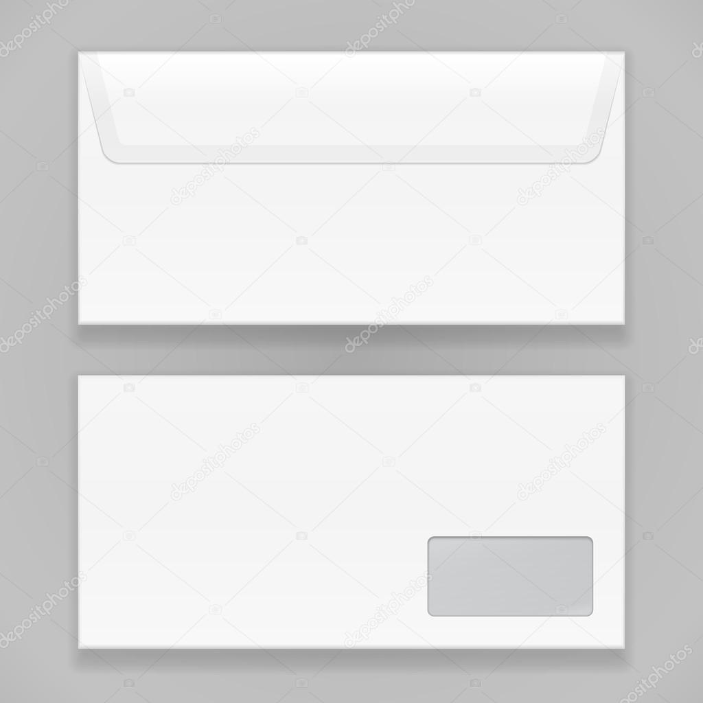 white closed blank envelope isolated on gray background