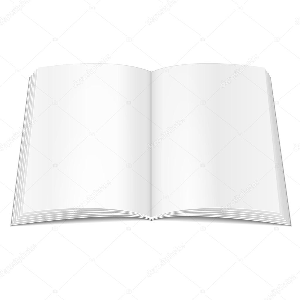 Blank geöffnet Buch, Broschüre, Zeitschrift, Broschüre. Isoliert auf ...