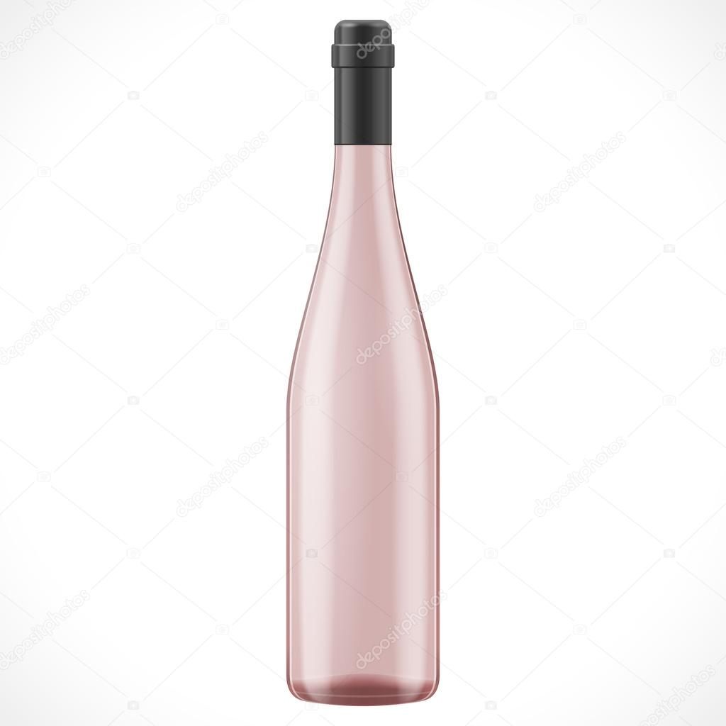 pink glass wine cider bottle illustration isolated on white