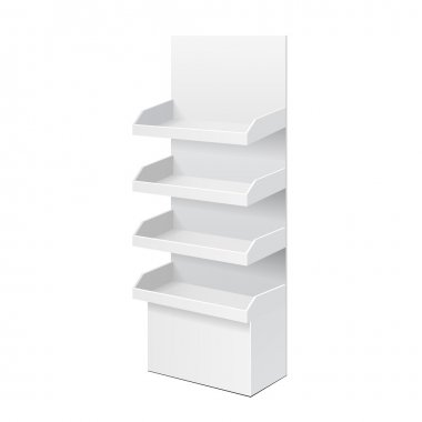 White POS POI Cardboard Blank Empty Displays With Shelves Products. On White Background Isolated. Mock Up Template Ready For Your Design. Product Packing Vector EPS10