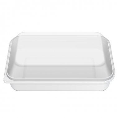 White Empty Blank Styrofoam Plastic Food Tray Container Box, Cover. Illustration Isolated On White Background. Mock Up Template Ready For Your Design. Vector EPS10 stock vector