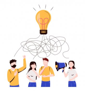 Vector illustration, tangled tangle, brainstorming, beginning and end to thought, abstract metaphor, concept of solving business problems icon