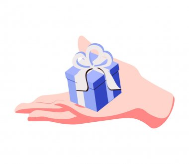 Isometric vector image on a blue background, male hand gives a box with a bow, gift or surprise icon