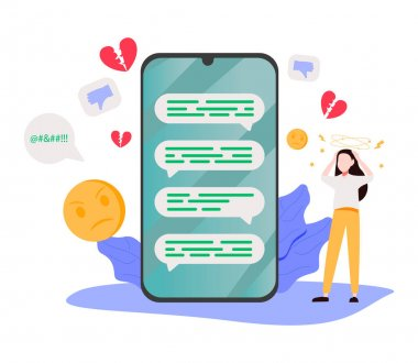 Online privacy violation, internet harassment problem, task delay and laziness icons. Doxing, cyberbullying, procrastination metaphors. Vector isolated concept metaphor illustrations icon