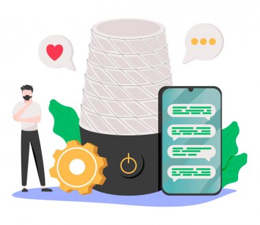 Voice assistant abstract concept vector illustration. Smart speaker apps development, office controller, hands-free phone calling, internet of things, voice command software abstract metaphor. icon