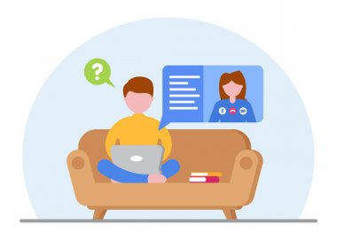 Online education concept. A student studying at a laptop at home during quarantine. Concept for video tutorials and video conferencing on the couch. E-learning. Online work. Vector flat illustration. icon