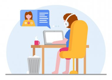 Online education concept. A student studying at a laptop at home during quarantine. Video tutorials and video conferencing concept. E-learning. Covid-19. Online work. Vector flat illustration. icon