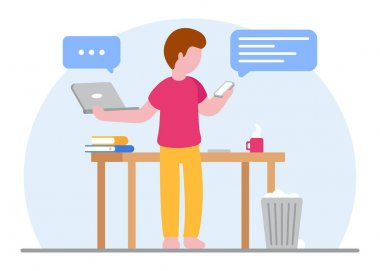 Online education concept. A student is in the process of learning with a laptop and a smartphone at the same time. Studying at home during quarantine. E-learning. Online work. Flat illustration. icon
