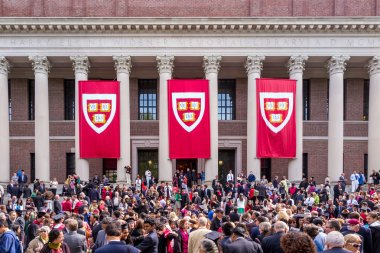 Students of Harvard University gather for their graduation cerem