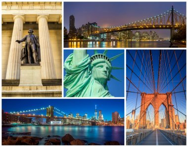 New York City famous landmarks picture collage