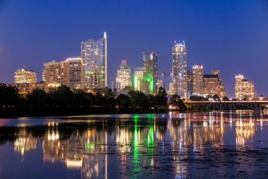 Beautiful Austin skyline reflection at twilight
