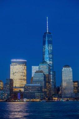 Manhattan Skyline from Jersey at twilight, New York