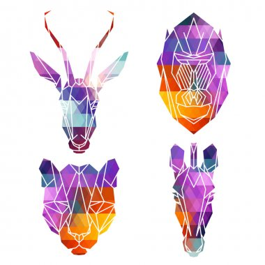 Bright african animals icons