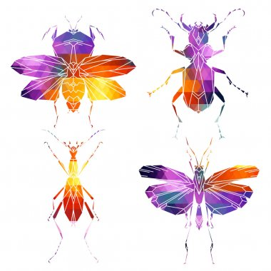 Bright insects icons