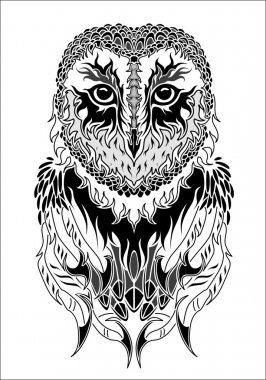 Owl tattoo black and white
