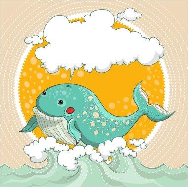 Cartoon smiling whale