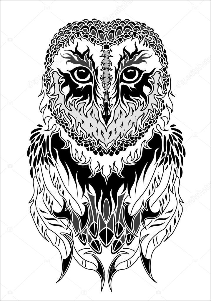 Owl Tattoo Black And White Stock Vector Dianapryadieva 67072359