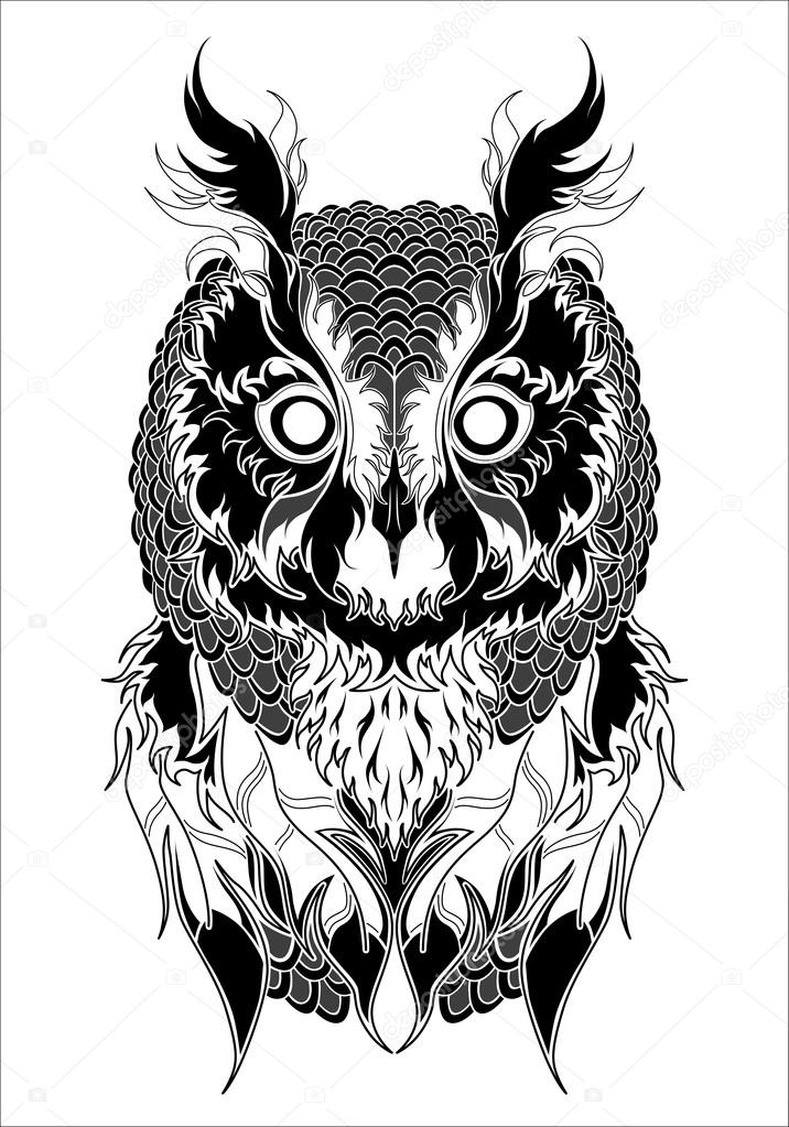 owl tattoo black and white � stock vector 169 diana
