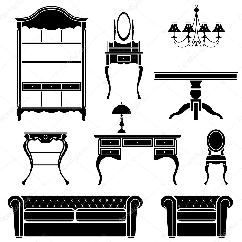 Antique Furniture Silhouettes Stock Vector 169 Diana