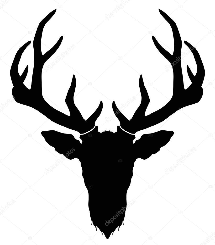 hirschkopf mit hörnern  silhouette — stockvektor © diana