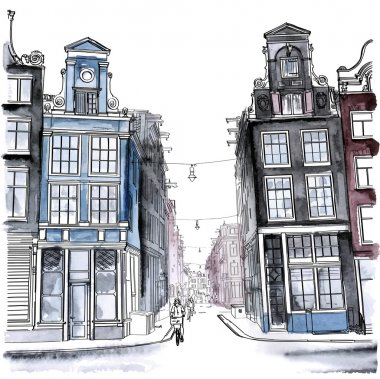 Amsterdam street. Watercolor style.