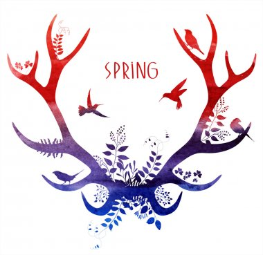 Spring deer. watercolor silhouette.
