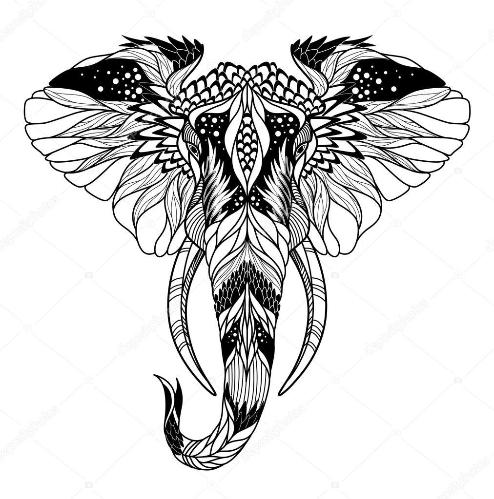 tatuaje de cabeza de psicod lico elefante archivo. Black Bedroom Furniture Sets. Home Design Ideas