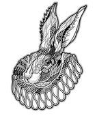 Fotografie Tätowierung mit Kaninchen im Jabot