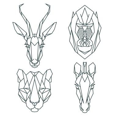 African animal icon set.