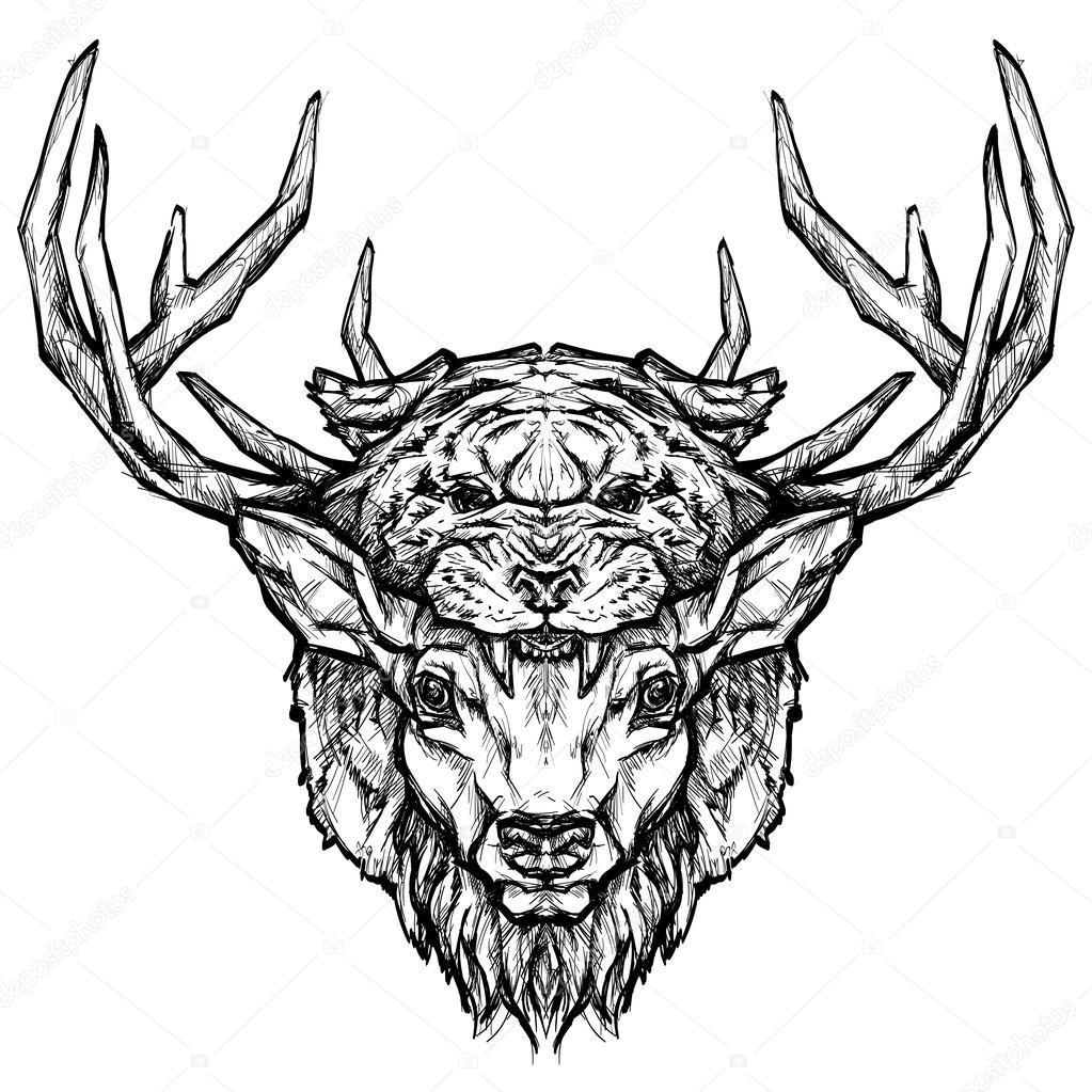 Vector Venado Tattoo Tatuaje Cabeza De Venado Y El Tigre Vector