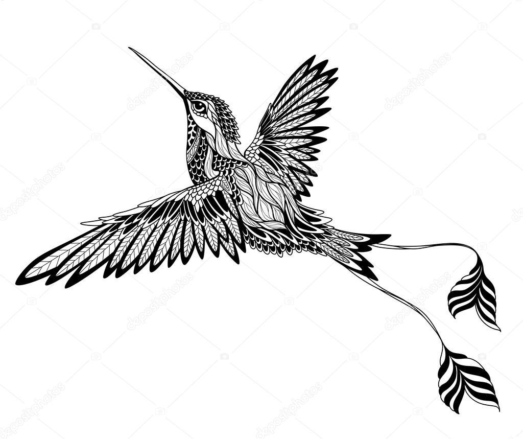Tatouage Oiseau Psychedelique Style Zentangle Image Vectorielle