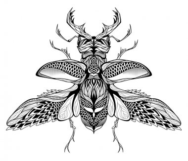 Stag-beetle tattoo. psychedelic