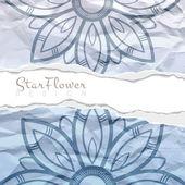 Vektorové pozadí zmačkaný roztrženého papíru s květinovým vzorem kruhový. Mandaly. Zbarvily