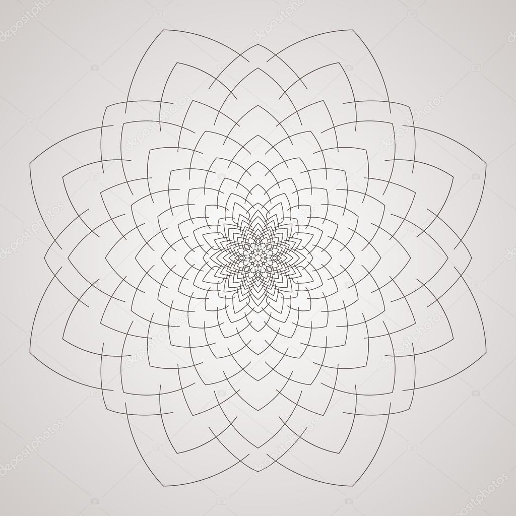 Patrón circular de vectores en forma de flor intrincado. Mandala ...