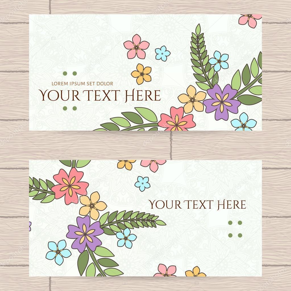 Vector Design Von Visitenkarten Mit Japanischen Blumen Und