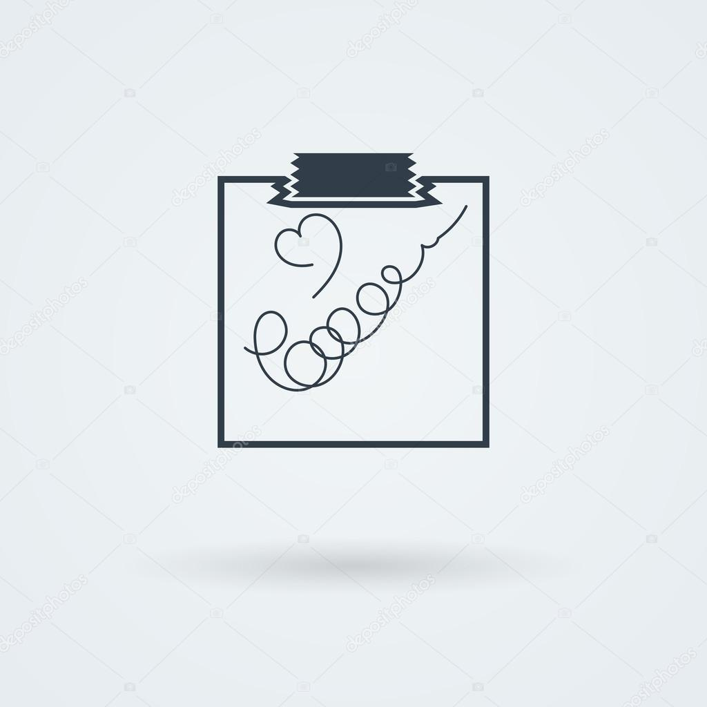 Note Paper with Scotch. Vector illustration