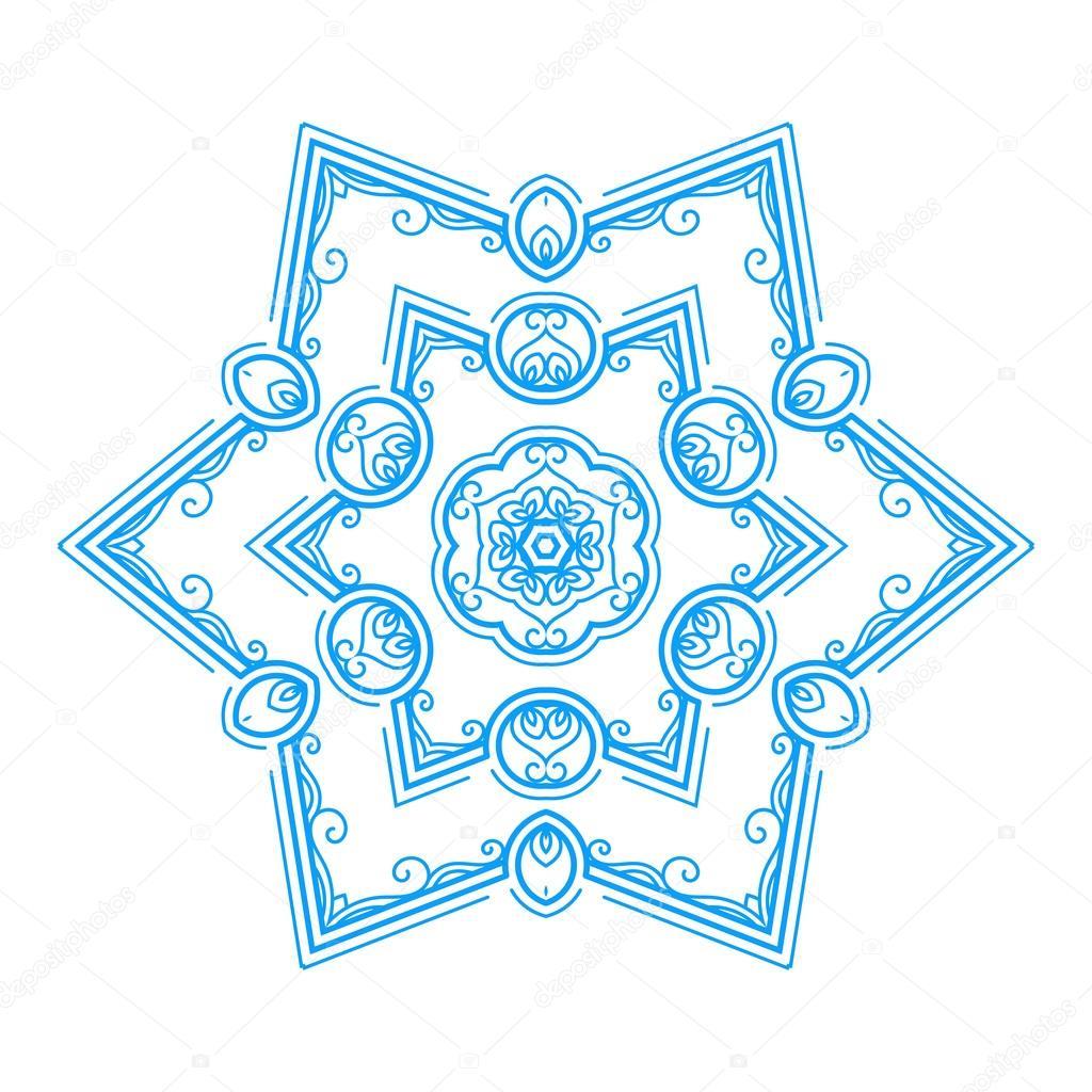 Mandala flor monocromas sobre un fondo que contraste. Copo de nieve ...