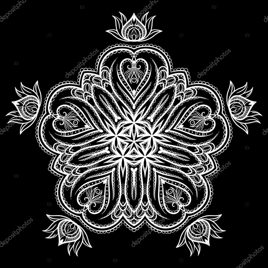 Monochrome flower mandala on a contrasting background. Big snowflake
