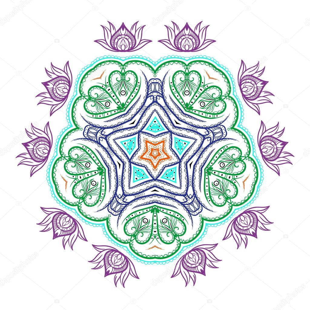 Flower mandala on a contrasting background. Big snowflake