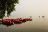 Tretboote auf dem Ammersee am Morgen, nebliger Tag