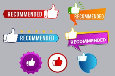 Recommend badges creative vector templates set icon
